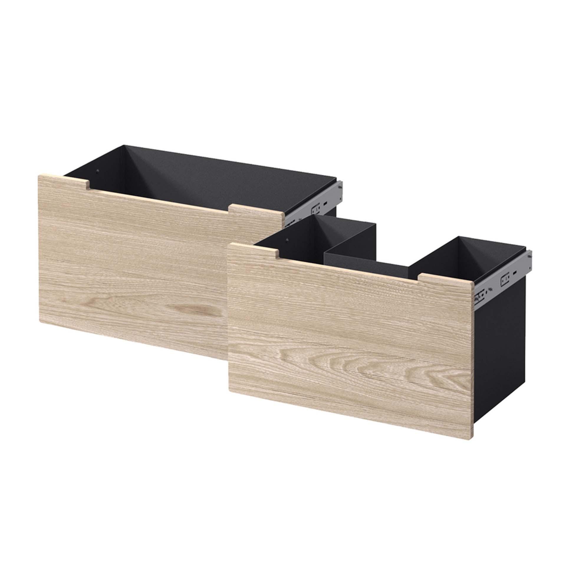 Schubladen Stahl schwarz Zuluft - Front Eiche für Nordpeis Me Bank